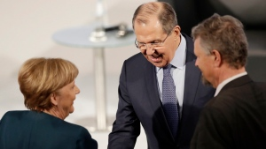 Russia's Foreign Minister Sergey Lavrov arrives for the working session on the second day of the G-20 Foreign Ministers meeting in Bonn, Germany, Friday, Feb. 17, 2017. (AP Photo/Michael Probst)