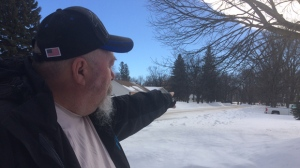 When Brad Renout stepped out to load his truck for work last weekend, 16 people who had illegally crossed the border were in his driveway. (Photo: Beth Macdonell/CTV Winnipeg)