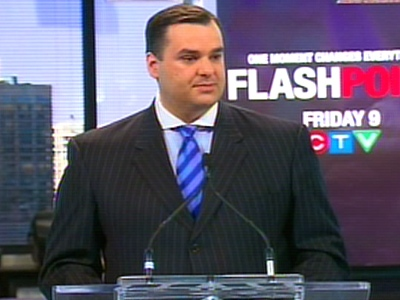 Heritage Minister James Moore announces new funds for Canadian programming on Monday, March, 9, 2009.