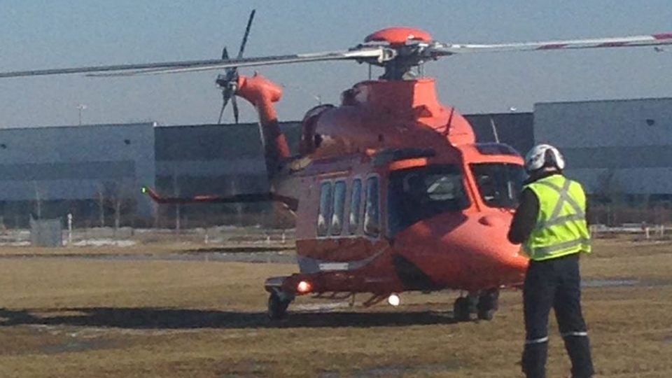An Ornge air ambulance lifts off in this photo shared by Peel Regional Police. (@PeelPoliceMedia /Twitter)