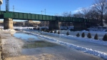 The Red River Mutual Trail was forced to close due to warm weather, and the Rondez-vous on Ice beer garden and trading post announced it will be closed as of 5 p.m. Saturday. (Photo: Beth Macdonell/CTV Winnipeg)