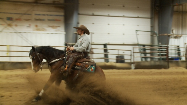 Riders showcase their skills in a reining competition at the Saskatchewan Equine Expo on Feb. 18, 2017