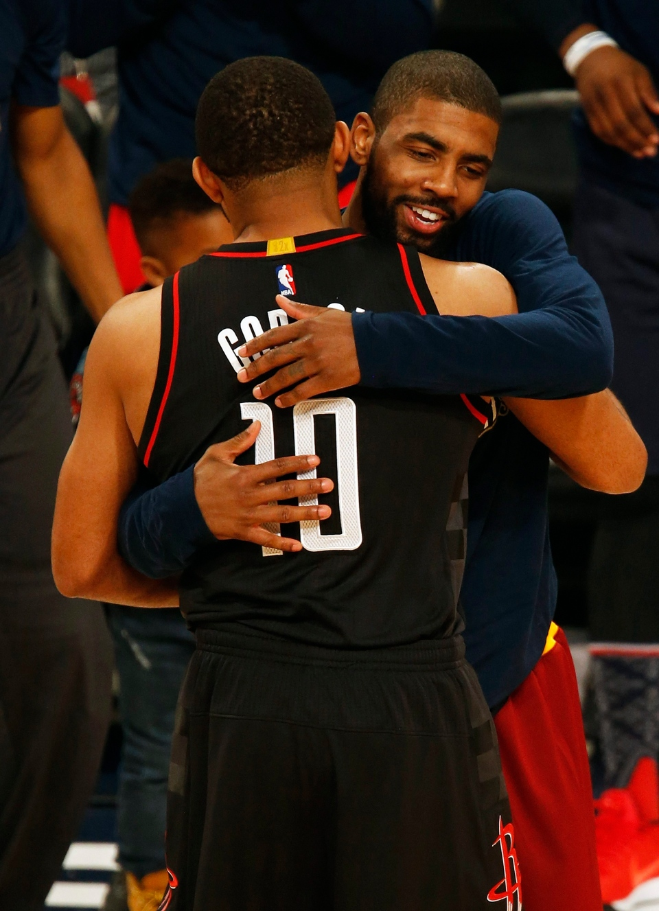 Cleveland Cavaliers Guard Kyrie Irving hugs Houston Rockets guard Eric Gordon (10) after Gordon won the All-Star 3-point shootout as part of the NBA All-Star Saturday Night events in New Orleans, Saturday, Feb. 18, 2017. (AP / Max Becherer)
