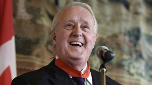 Former prime minister Brian Mulroney speaks during a reception after receiving the insignia of Commander of the National Order of the Legion of Honour from the Embassy of France, on Tuesday, Dec. 6, 2016 in Ottawa. (Justin Tang/The Canadian Press)