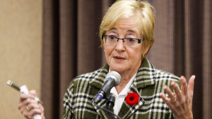 Maude Barlow, national chairperson of the Council of Canadians, speaks at a counter summit to the Conservative convention in Calgary, Alta., Friday, Nov. 1, 2013. (Jeff McIntosh/The Canadian Press)