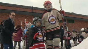 The Lasalle PeeWee A Jaguars gave skating and hockey lessons to a group of 25 Syrian newcomers to Canada who were eager to learn their new country's favourite sport.