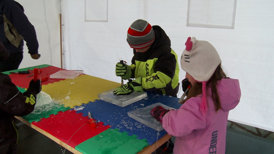 Children learn to carve ice sculptures at the Frosted Gardens Festival on Feb. 19, 2017 (Mark Villani / CTV Saskatoon)