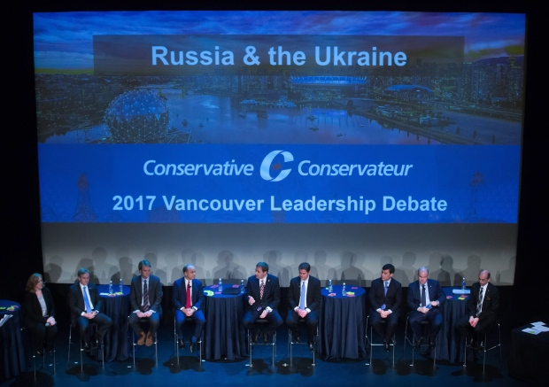 Candidates are seen on stage during a federal Conservative Party leadership debate in Vancouver, B.C., on Sunday February 19, 2017. (THE CANADIAN PRESS/Darryl Dyck)