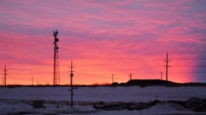 This morning's sunrise from just inside the south Perimeter Hwy. Photo by Roger Mussard.