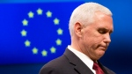 United States Vice President Mike Pence pauses before speaking during a media conference at the EU Council building in Brussels on Feb. 20, 2017. (Virginia Mayo / AP)