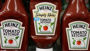 FILE- In this March 2, 2011, file photo, Heinz ketchup bottles are displayed on the shelf of a market on in Barre, Vt. (AP Photo/Toby Talbot, File)