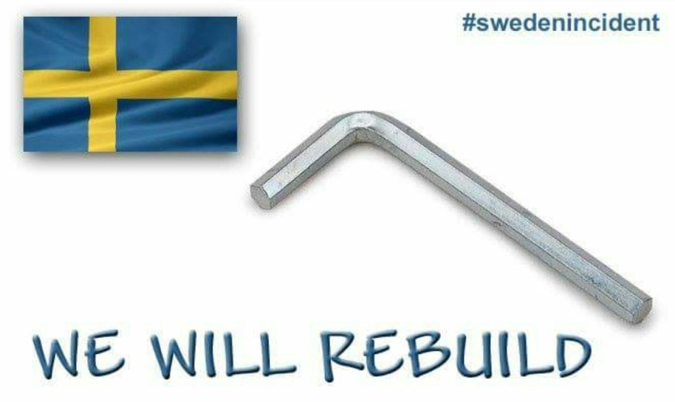 This tribute to the fake terror attack in Sweden was shared online under the hashtag #SwedenIncident. (Rafe Lieber / Twitter)