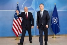 United States Vice President Mike Pence, left, walks with NATO Secretary General Jens Stoltenberg during a meeting at NATO headquarters in Brussels on Monday, Feb. 20, 2017. U.S. Vice President Pence is currently on a one-day visit to meet with EU and NATO officials. (AP Photo/Virginia Mayo, Pool)