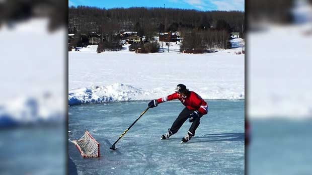 Scoring a goal at Skate the Lake in Minnedosa. Photo by Terry McLenehan.