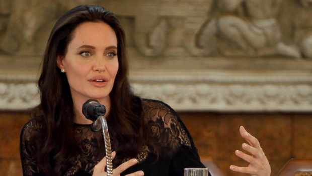 Hollywood actress Angelina Jolie gives a press conference in Siem Reap province, Cambodia, Saturday, Feb. 18, 2017. (Heng Sinith/AP)