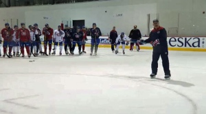 Claude Julien leads the Habs at a practice in Brossard.