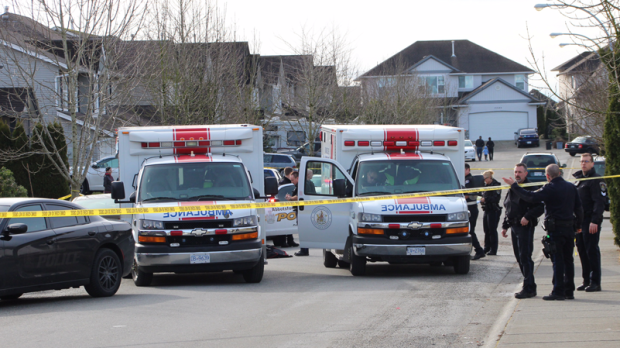 Emergency crews and police were dispatched to a residential street in Abbotsford Monday morning after a shooting.