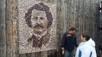 A portrait of Louis Riel made of mosaic tiles was unveiled Feb. 20 at Festival du Voyageur. (Scott Andersson/CTV News)