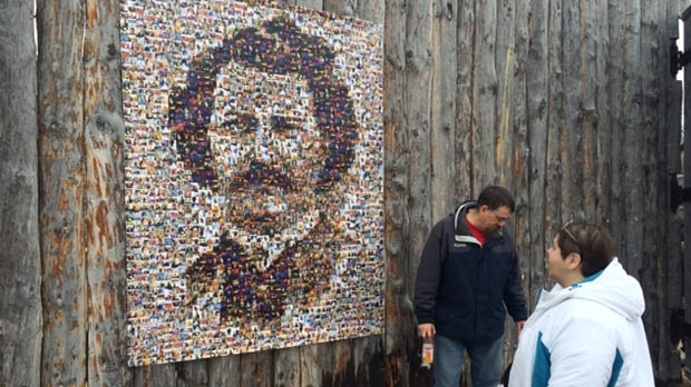 A portrait of Louis Riel made of mosaic tiles was unveiled Feb. 20 at Festival du Voyageur. (Scott Andersson/CTV News)