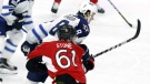 Ottawa Senators' Mark Stone (61) is hit hard by Winnipeg Jets' Jacob Trouba (8) during third period NHL hockey action in Ottawa on, Sunday, February 19, 2017. The NHL has suspended Winnipeg Jets defenceman Trouba for two games for an illegal check to the head of Ottawa forward Stone. (Source: Fred Chartrand/The Canadian Press)
