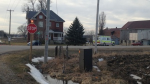 The collision happened around 2:20 p.m. on Perth Line 29 and Road 112 south of Stratford. (Nicole Lampa/ CTV Kitchener)