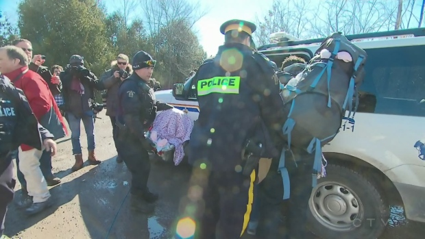 The RCMP arrests a family that illegally crossed the border between Quebec and New York on Feb. 20, 2017