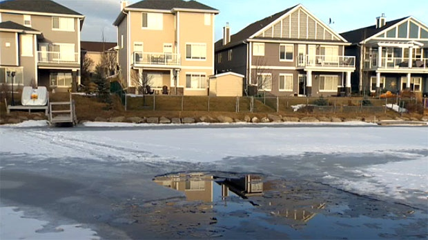 The two boys were pulled from a pond behind homes in the Bayside area of Airdrie.