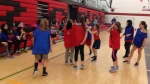 Syrian refugees learn basketball basics
