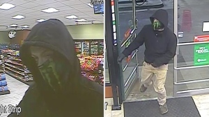 RCMP released stills taken from surveillance footage, showing a male suspect in an armed robbery in a Millet gas station on Friday, February 17, 2017. Supplied.