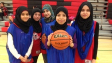 Syrian girls at Winnipeg basketball clinic
