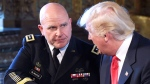 President Donald Trump, right, shakes hands with Army Lt. Gen. H.R. McMaster, left, at Trump's Mar-a-Lago estate in Palm Beach, Fla., Monday, Feb. 20, 2017, where he announced that McMaster will be the new national security adviser. (AP Photo/Susan Walsh)