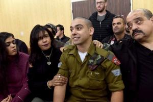 Israeli soldier Sgt. Elor Azaria attends a sentencing hearing in Tel Aviv, Israel, on Jan. 24, 2017. (Debbie Hill, Pool via AP)