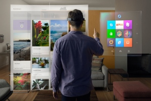 Microsoft HoloLens plunges users into an augmented-reality world filled with three-dimensional holograms. (Source: Microsoft)
