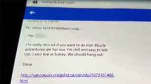 A screengrab of a Creep Catchers video in which they show an email sent by Steve (Facebook)