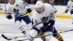 Toronto Maple Leafs center Mitch Marner (16) skates during the first period of a preseason NHL hockey game against the Buffalo Sabres, Friday, Sept. 30, 2016, in Buffalo, New York. (THE CANADIAN PRESS/AP/Jeffrey T. Barnes)