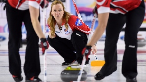 Canada skip Chelsea Carey calls the sweep as she takes on Northwest Territories during the Scotties Tournament of Hearts in St. Catharines, Ont., on Tuesday, Feb. 21, 2017. THE CANADIAN PRESS/Sean Kilpatrick