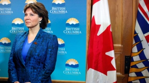Premier Christy Clark looks on during a press conference following a special cabinet meeting to discuss the softwood lumber dispute at Legislature on Thursday, February 16, 2017 in Victoria, B.C. THE CANADIAN PRESS/Chad Hipolito