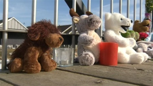 Members of the community have placed flowers and stuffed toys on a bridge over the canal where a young boy drowned on Monday.