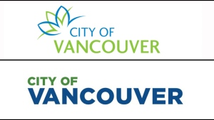 The current (top) and proposed City of Vancouver logos are shown.