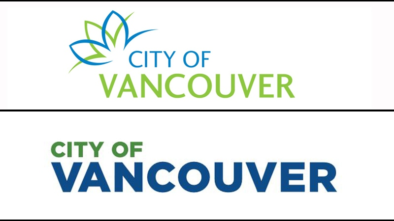The previous (top) and new (bottom) City of Vancouver logos are shown.