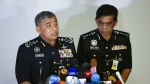 Malaysia's Inspector-General of Police Khalid Abu Bakar, left, speaks as Selangor Police Chief Abdul Samah Mat listens during a press conference at the Bukit Aman national police headquarters in Kuala Lumpur, Malaysia on Wednesday, Feb. 22, 2017. (AP / Vincent Thian)