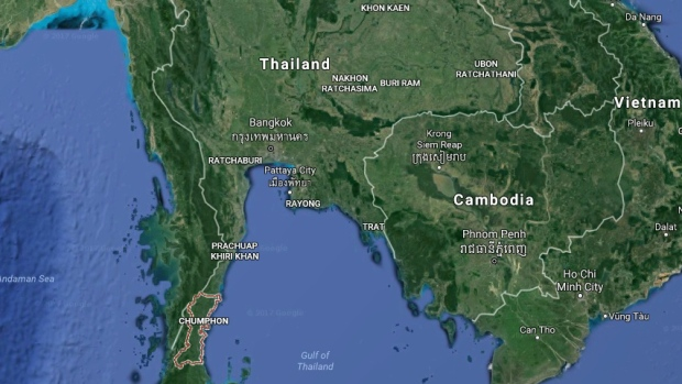 The city of Chumphon in southern Thailand is seen in this screenshot from Google Maps.