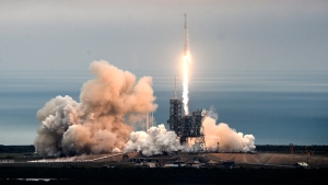 The SpaceX Falcon rocket launches from the Kennedy Space Center in Florida on Feb. 19, 2017. (Craig Bailey/Florida Today via AP)