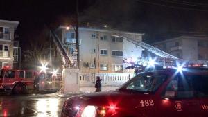 Firefighters battle a three-alarm blaze in Ahunstic-Cartierville (CTV Montreal/Cosmo Santamaria)