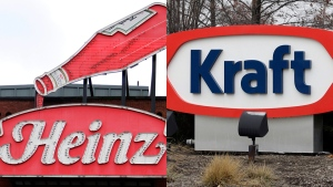 A Heinz ketchup sign and the Kraft logo are seen in this composite image. (AP)