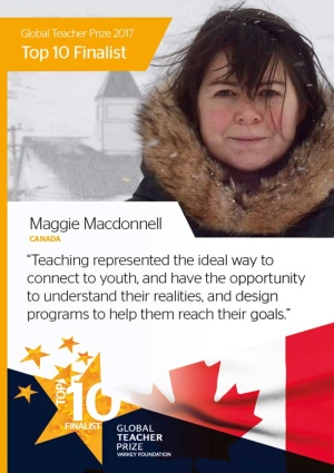 Maggie MacDonnell, a teacher from northern Quebec is in the running for the prestigious US$1-million Global Teacher Prize. (Varkey Foundation Global Teacher Prize)