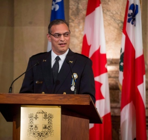 In this August 28, 2015 file photo, Montreal's Police Chief Philippe Pichet speaks to attendees and press during his swearing-in ceremony at City Hall. (Peter McCabe / THE CANADIAN PRESS)