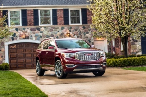 This undated photo made available by GMC shows the 2017 GMC Acadia Denali SUV. The federal government said the resized 2017 Acadia with all-wheel drive earned an overall five out of five stars in federal government crash tests. (GMC via AP)