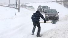 Shovelling snow in St. John's, N.L.