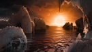 This illustration shows the possible surface of TRAPPIST-1f, one of the newly discovered planets in the TRAPPIST-1 system. (JPL-Caltech / NASA)